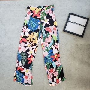 Zara Trafaluc Collection Tropical Cropped Pants